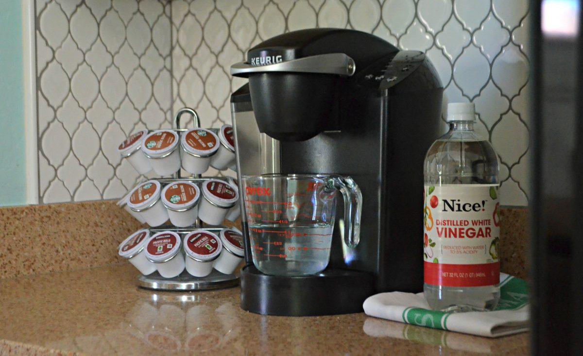 white vinegar processed through a Keurig coffee maker