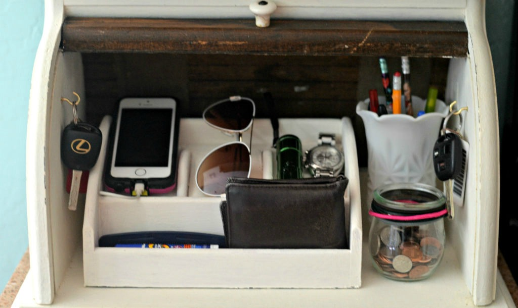 the bread box kitchen counter organizer with keys, change, wallet, and more inside