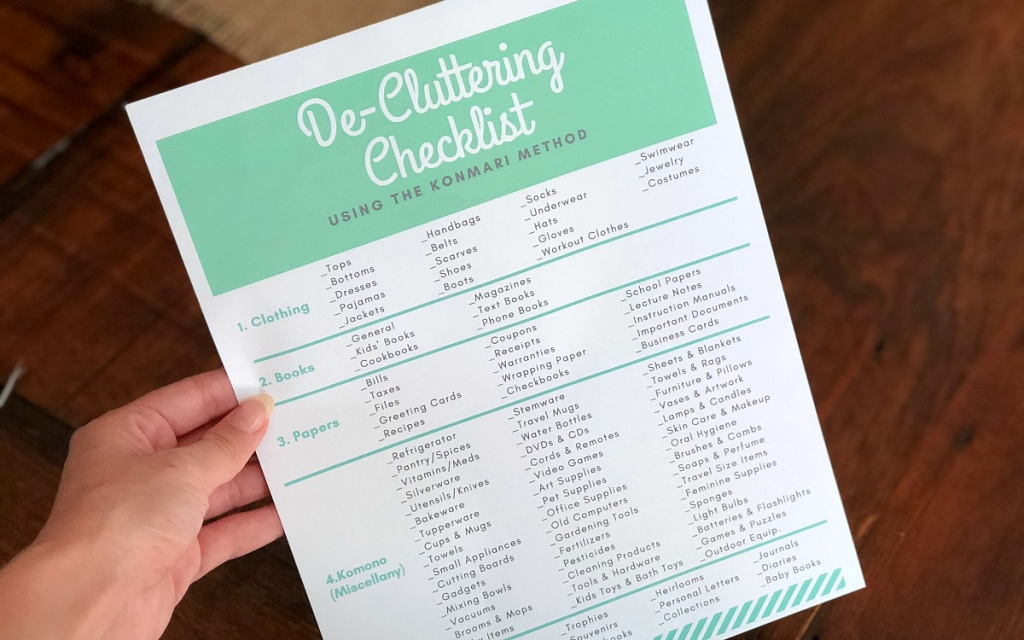marie kondo inspired decluttering checklist print out