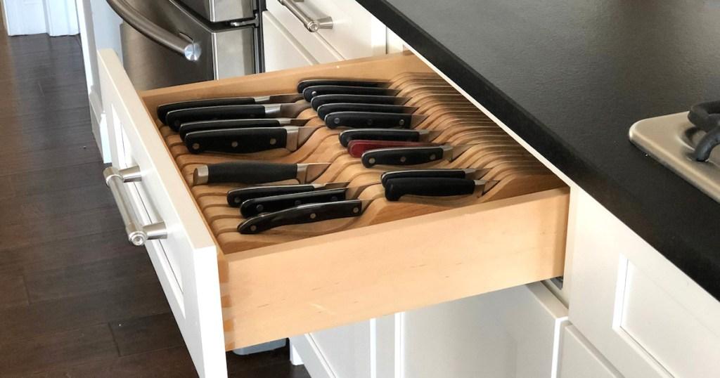 knife organizer drawer kitchen hack