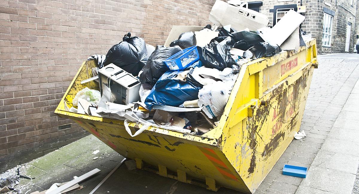 dumpster full of trash