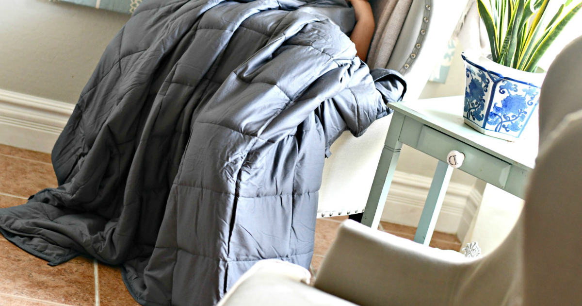 weighted blanket over a chair