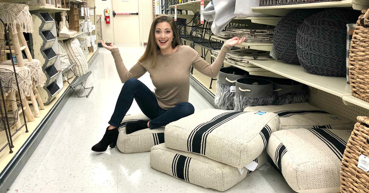Hobby Lobby Sara sitting on throw pillows