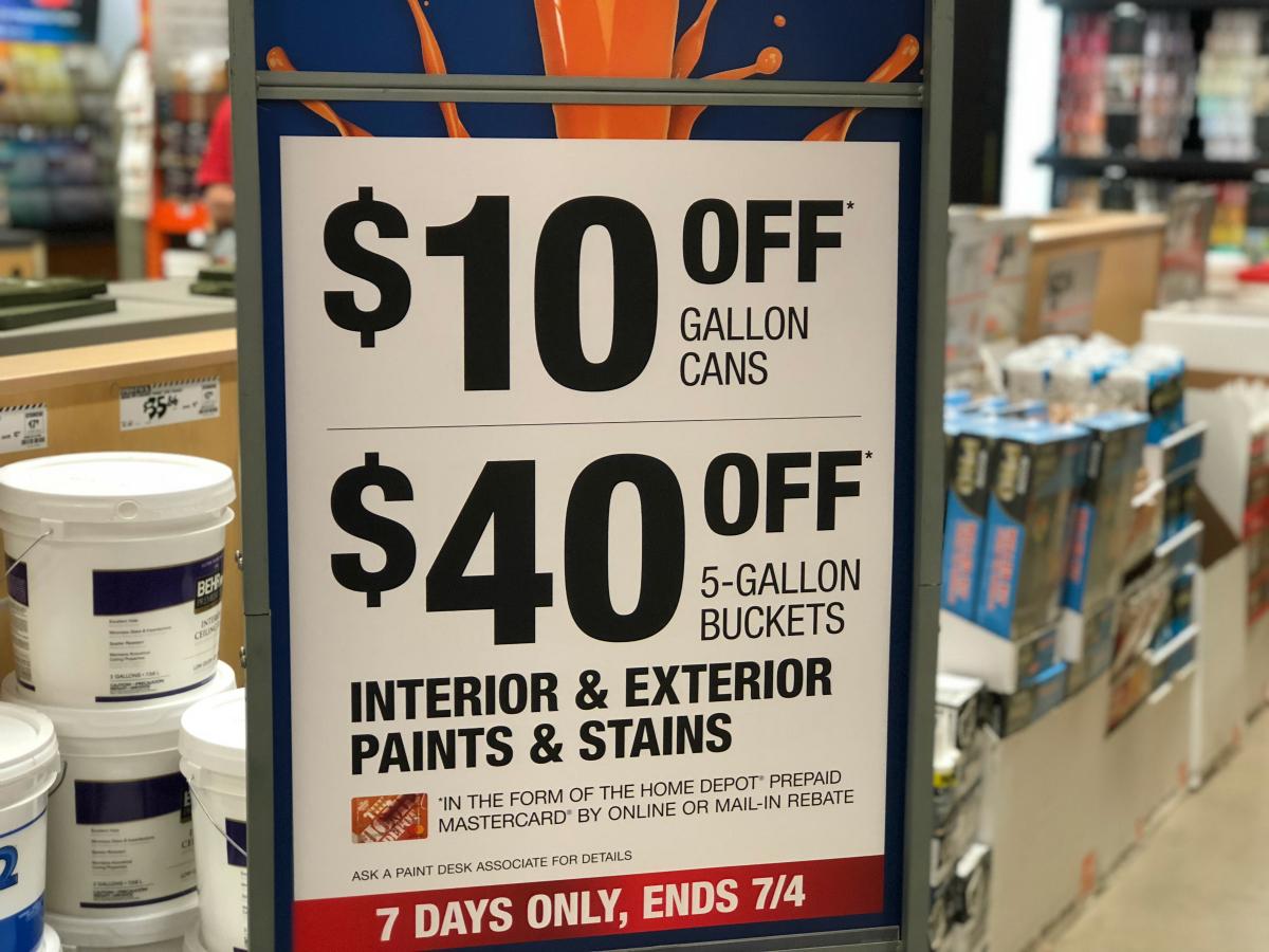 Home Depot paint rebates