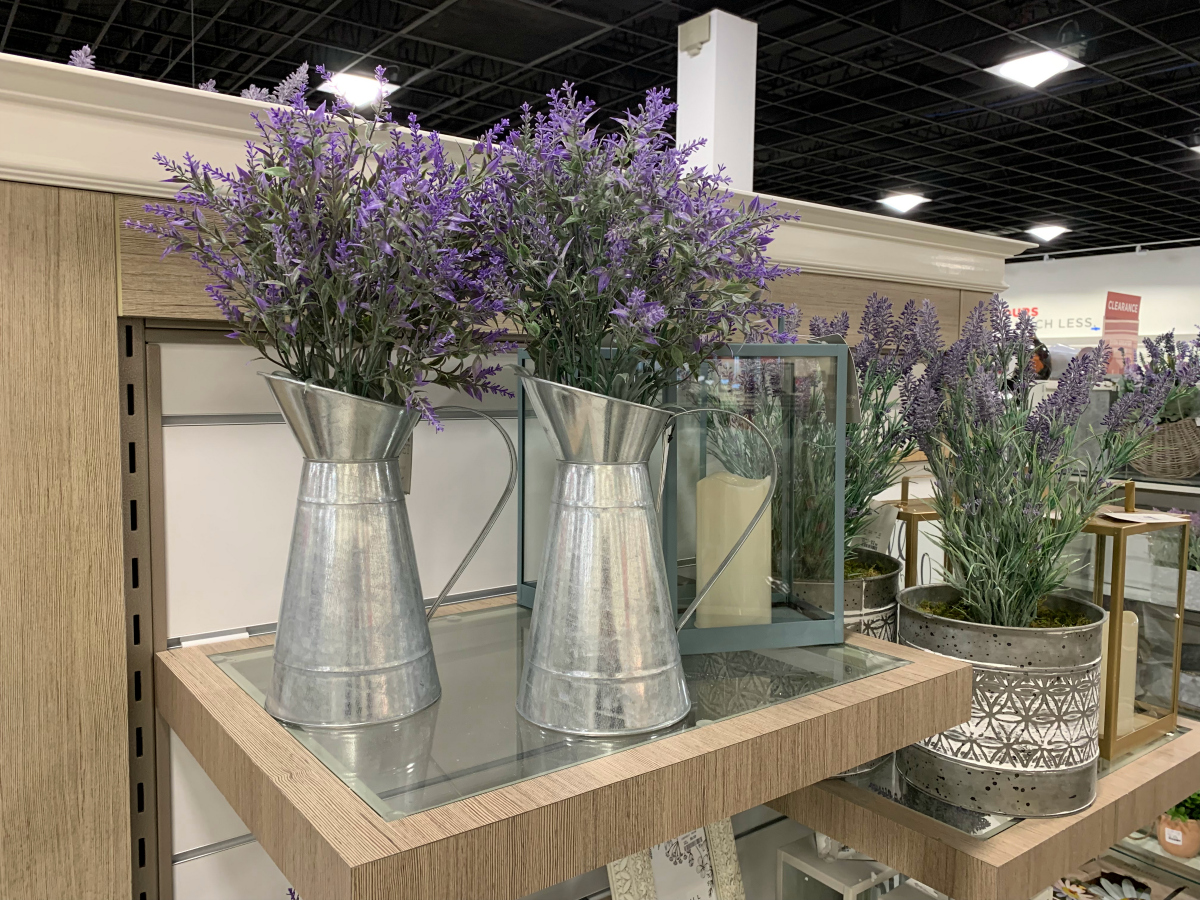 HomeGoods metal pitchers with lavender