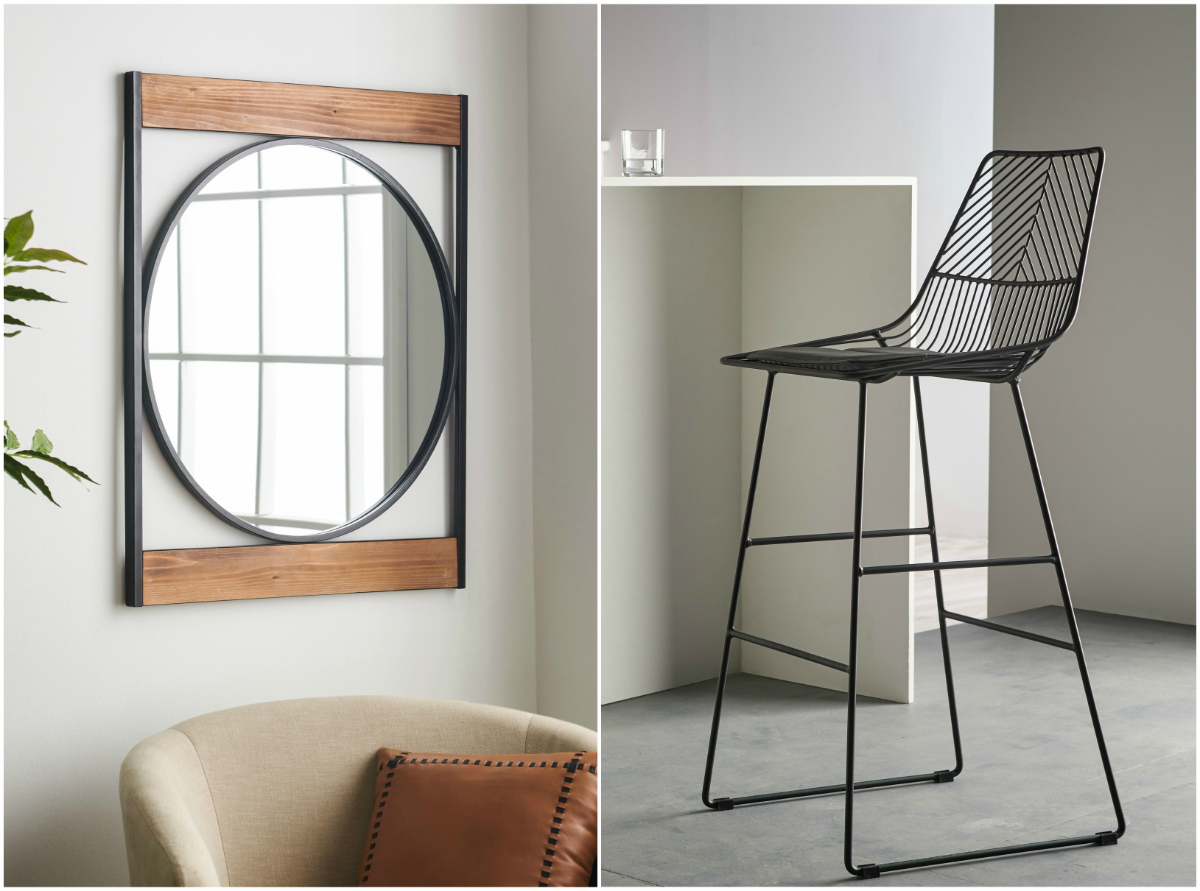 MōDRN modern line at Walmart includes a mirror and a wire frame bar stool