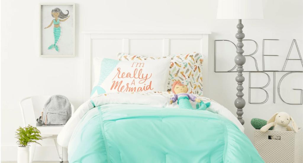 target mermaid room stock photo mermaid throw pillow in room on a teal bed