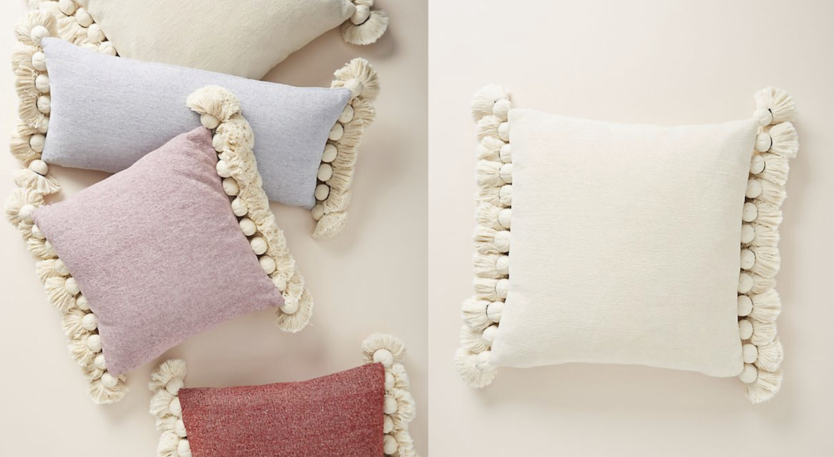 large tassel pillows in cream, ivory, lavender, light blue, purple, red