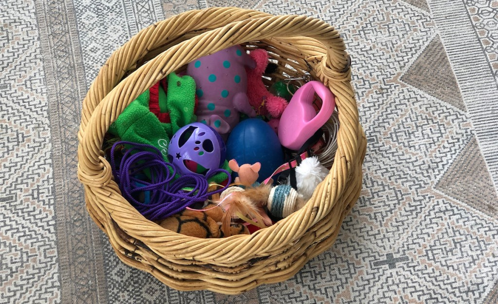 colorful pet toys in a round wicker basket