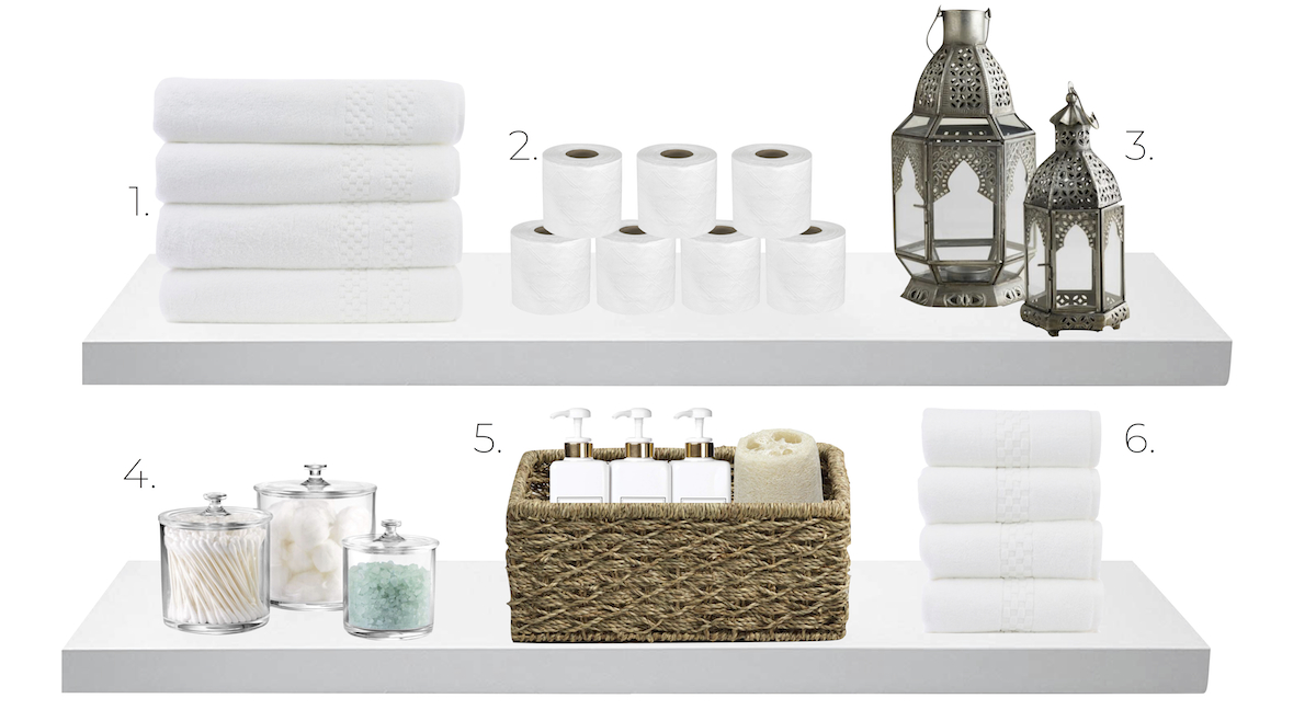 bathroom accessories on shelves – towels, toilet paper, lanterns, apothecary jars, bath items