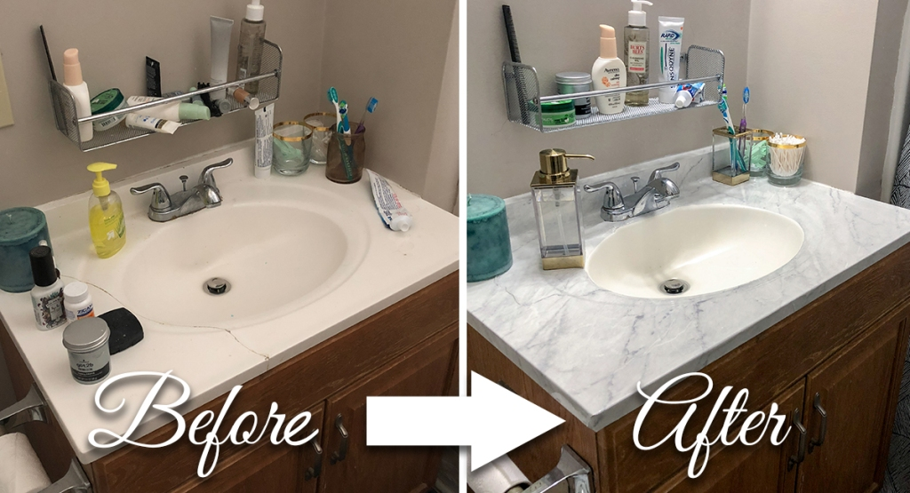before and after of countertop refinishing