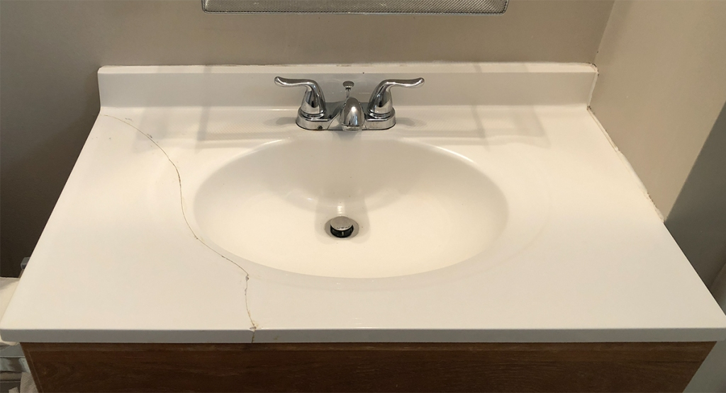 countertop and sink cleaned off