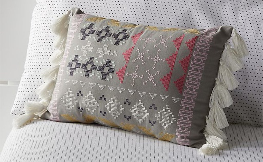 cross stitch embroidered tassel pillow brown beige tan with pink and yellow