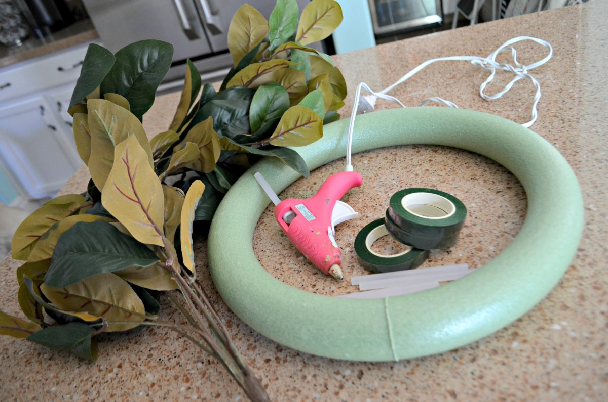 items needed to make the faux Magnolia wreaths