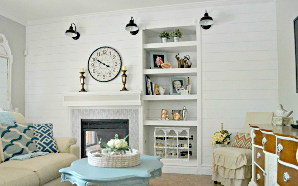 diy family room shiplap walls