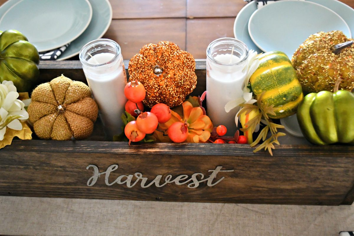 autumn centerpiece using the crate