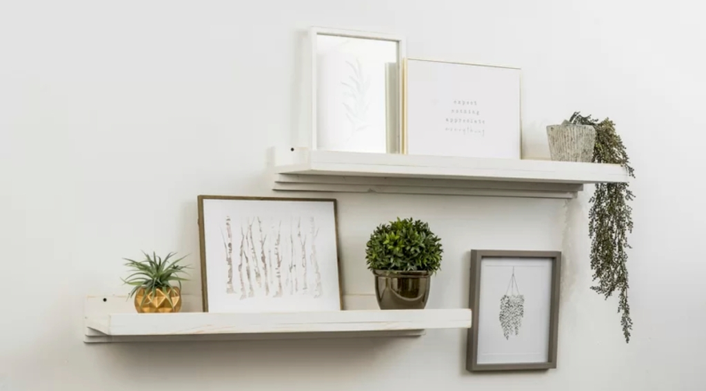 two vintage white shelves with picture frames and plants