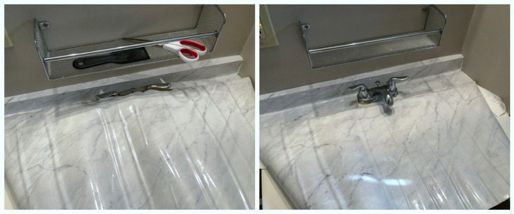 side by side of cutting out faucet hole in contact paper
