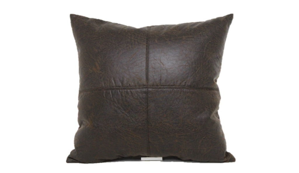 faux leather dark brown stitched throw pillow