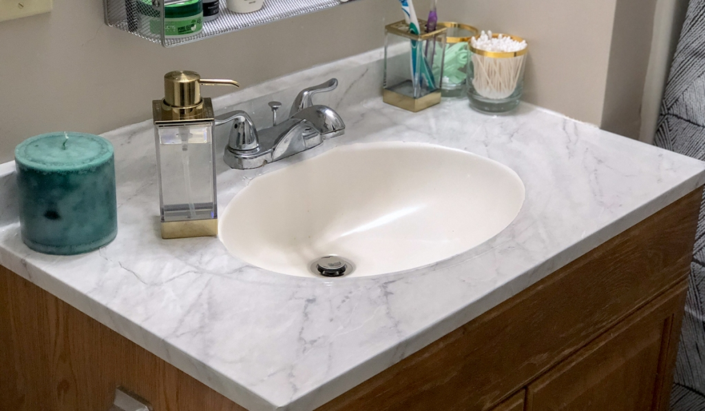 counter top diy with marble contact paper