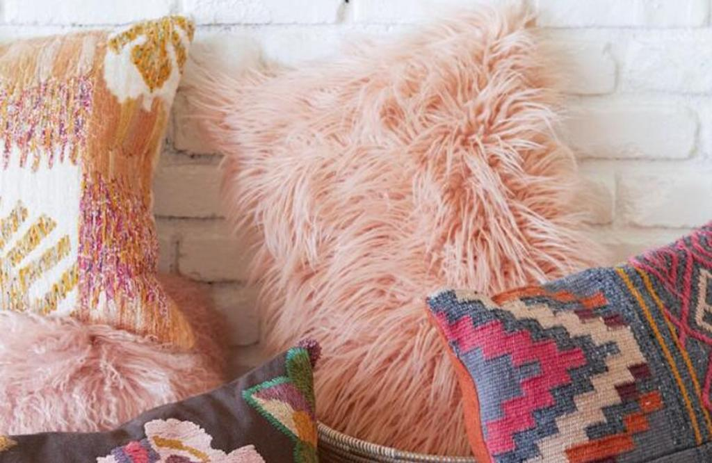 oversized blush mongolian fur lumbar pillow