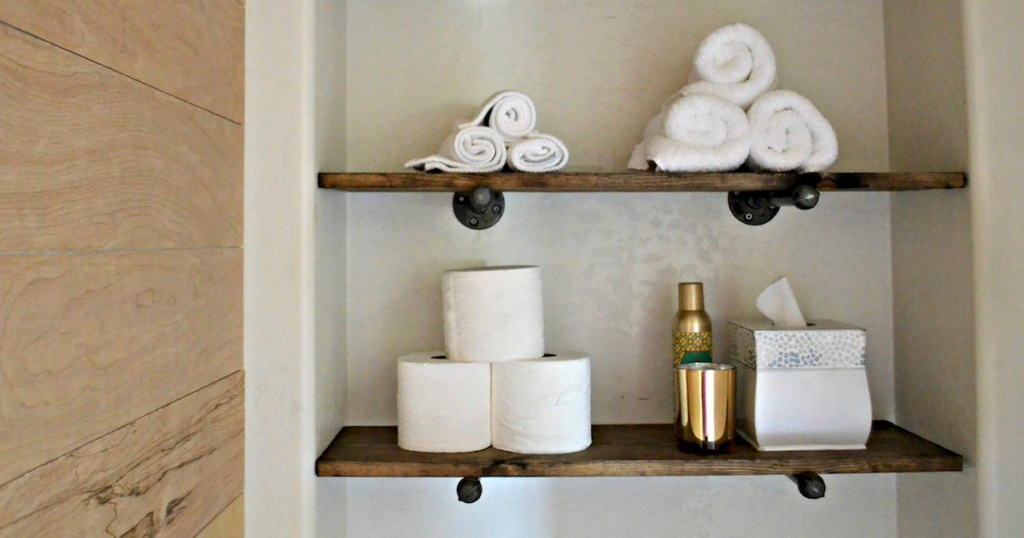 industrial shelves with various bathroom accessories and essentials