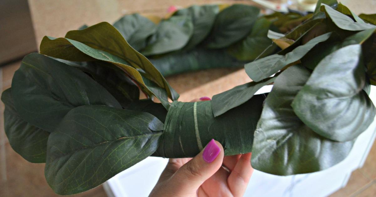 faux magnolia wreath DIY directions