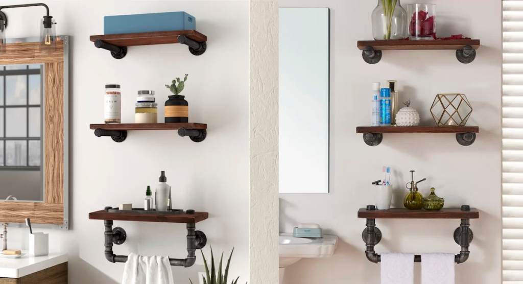 side by side photos of iron wood shelves in bathroom with towel rack and accessories