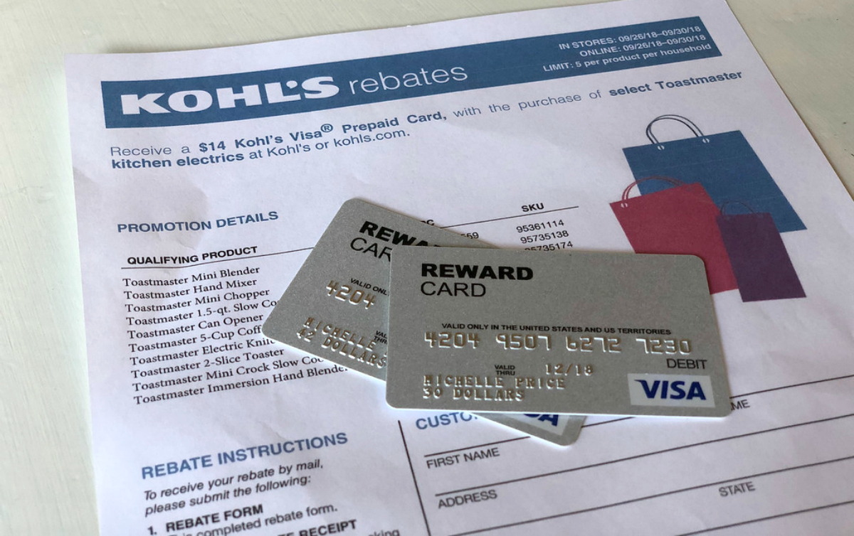 kohls rebate form and rewards cards