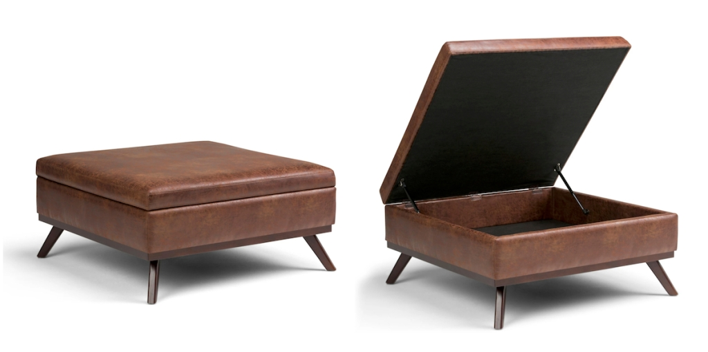 brown faux leather ottoman side by side photos closed and open
