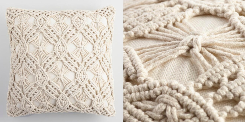 macrame pillow ivory off white