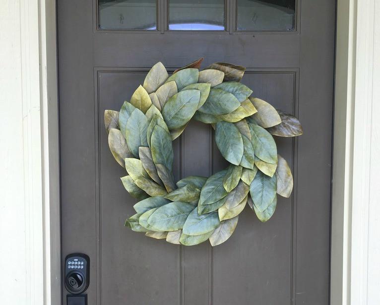 Magnolia wreath on a front door