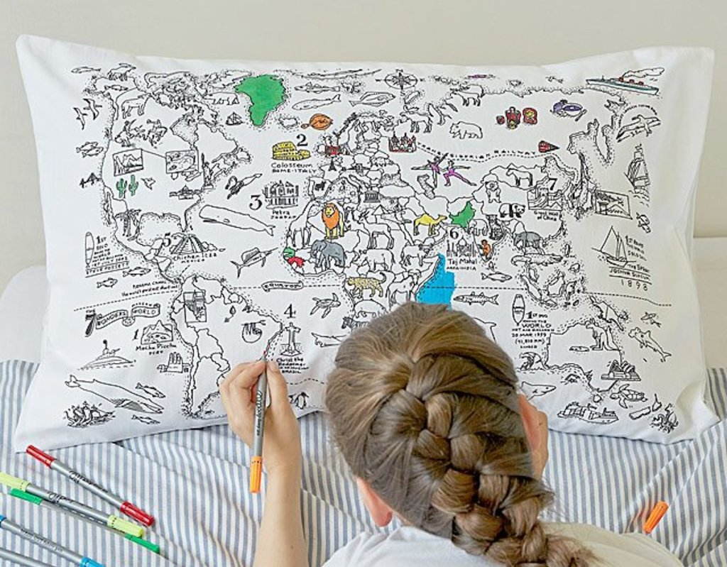 uncommon goods color your own map pillow case