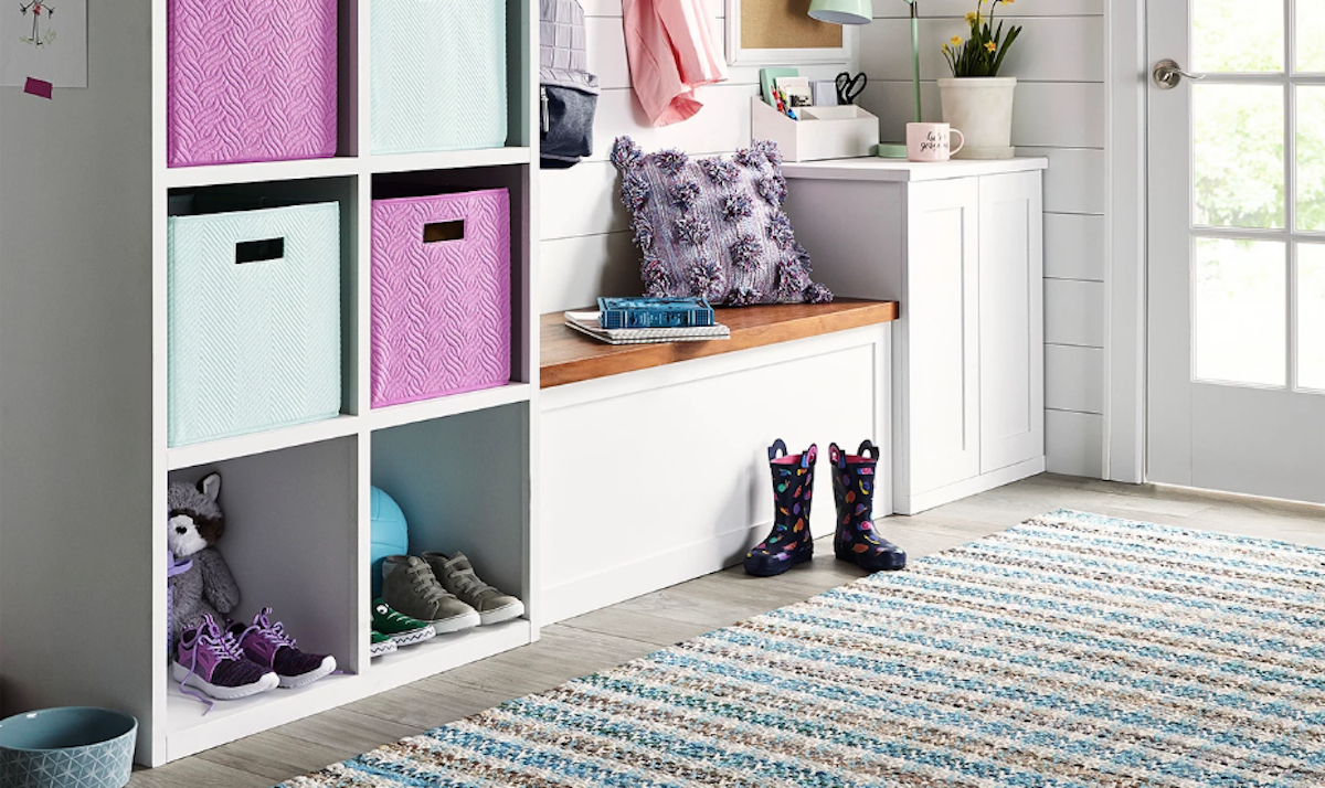 target mudroom baskets and purple blue bins for storage