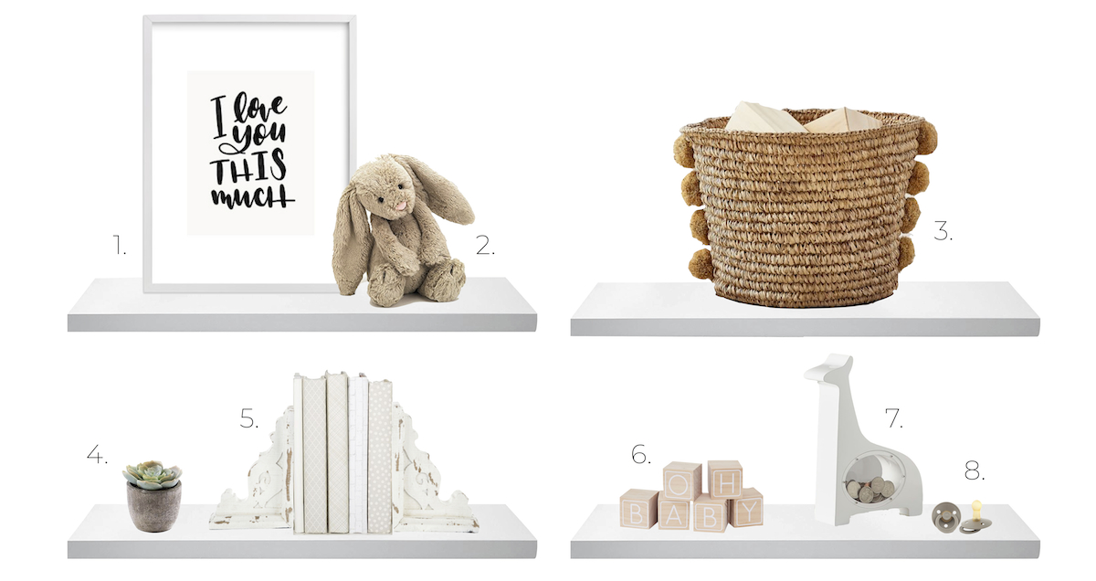 nursery shelves with a sign, bunny, woven basket, white books, and toys