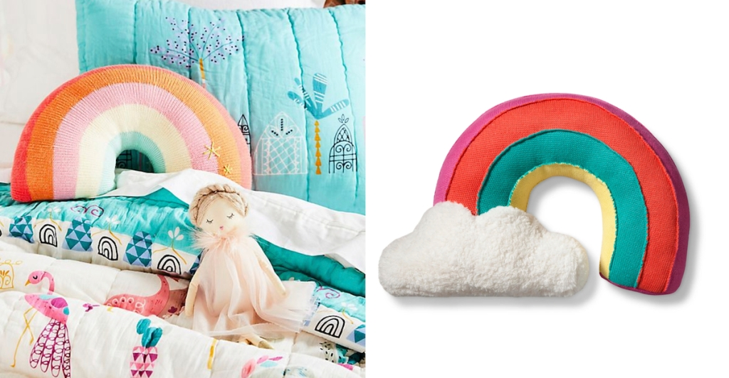 anthropologie target rainbow pillows on bed with cloud