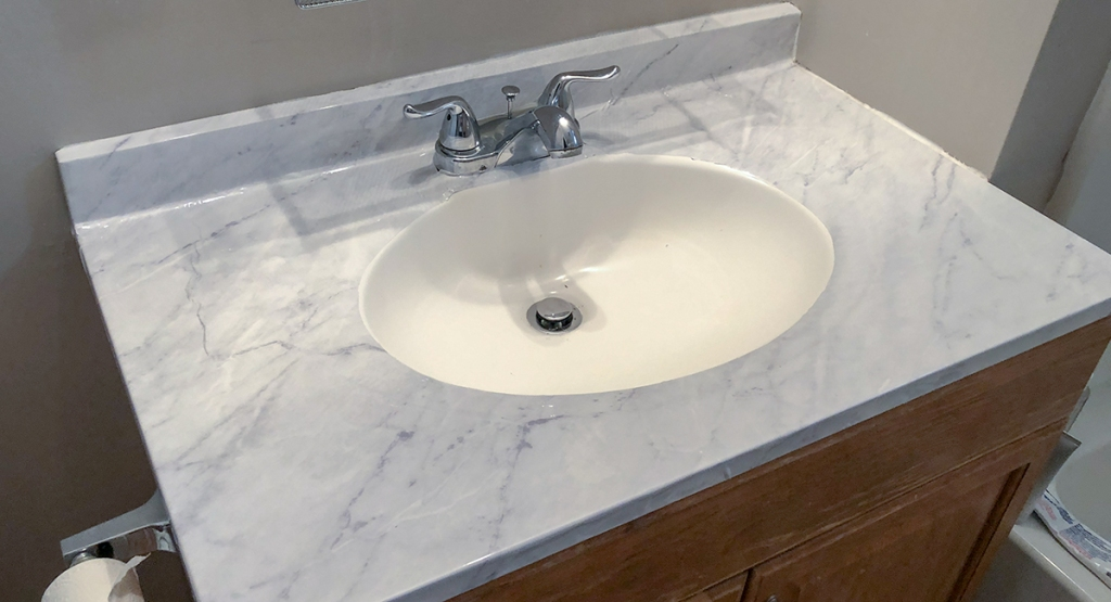 countertop with marble contact paper