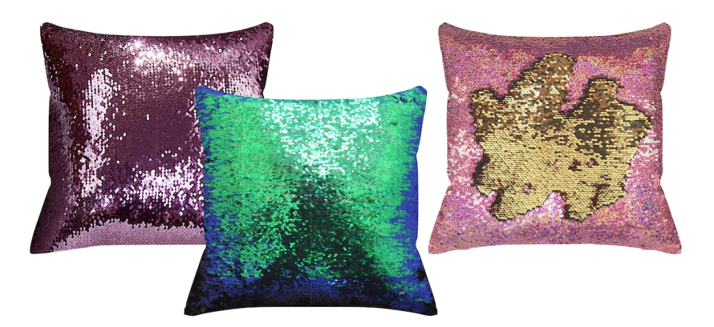 purple mermaid blue and green pink and gold sequin throw pillows