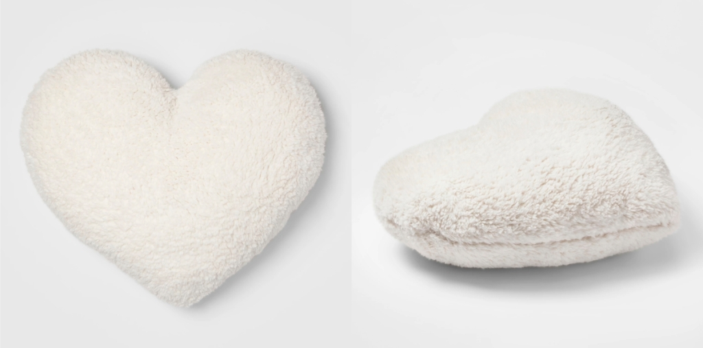 white ivory sherpa heart shaped pillow
