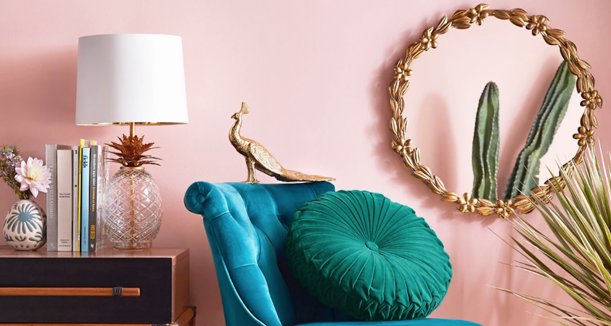 target opalhouse round floral gold mirror, teal chair, pineapple lamp, pink walls