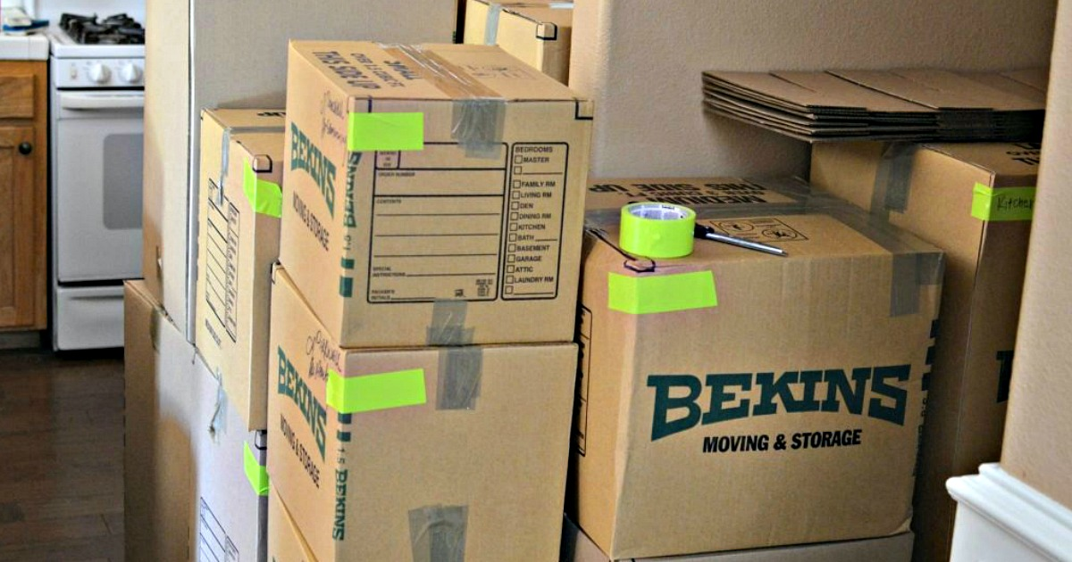 moving boxes stacked