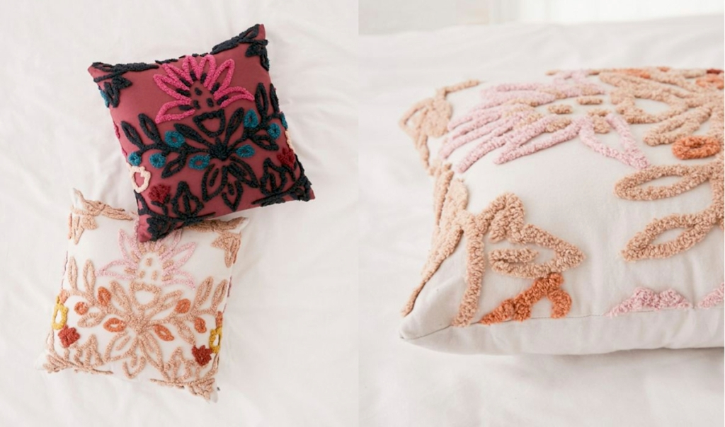 gem tone pillows embroidered floral pillows