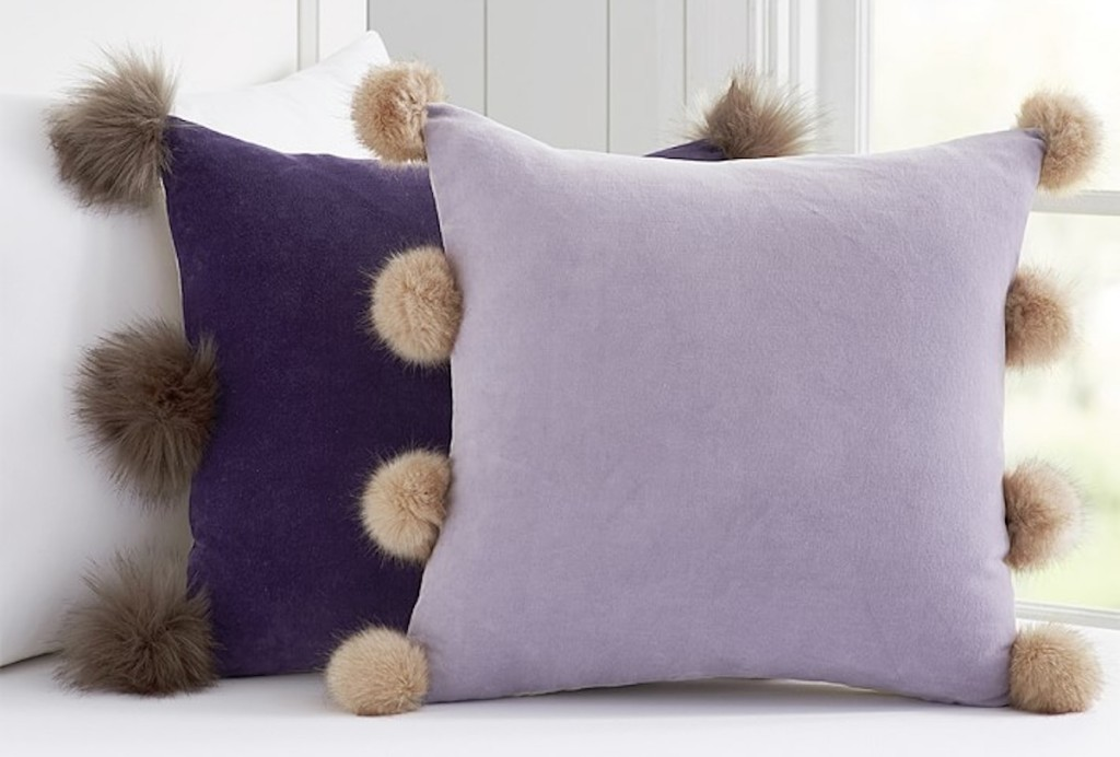 pottery barn kids velvet plum and lavendar throw pillows with pom poms