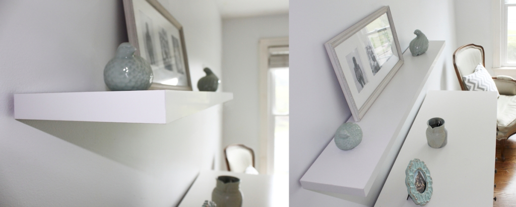 side by side photos of white floating shelves with picture frame and decor items
