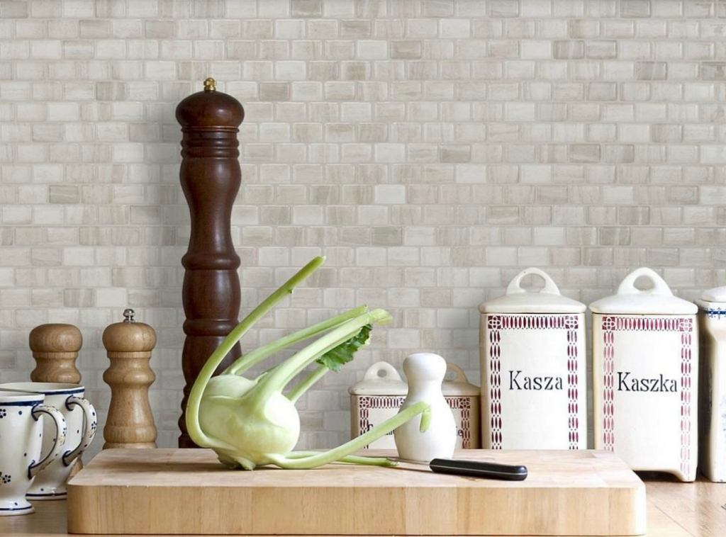 Beige Stone Smart Tiles at Home Depot