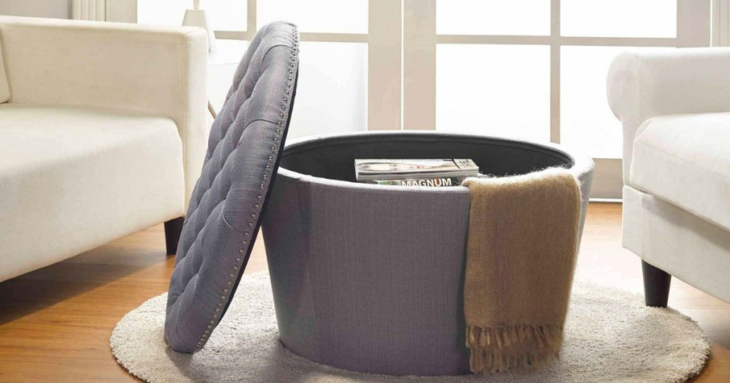 Better Homes and Gardens Round Tufted Storage Ottoman with Nailheads