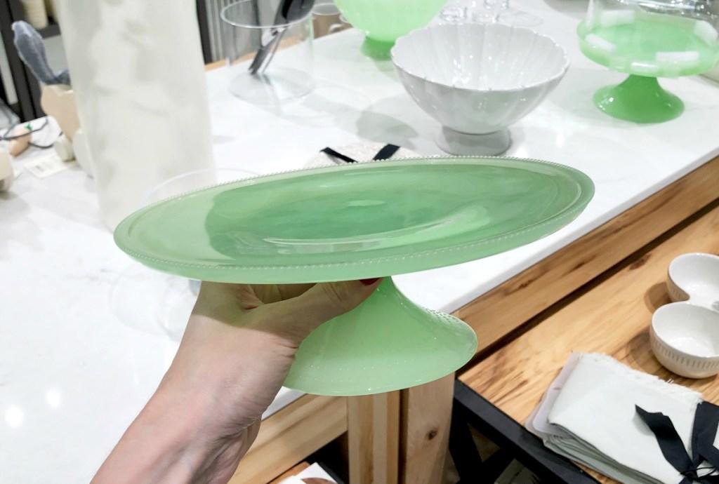 Green Milk Glass Cake Stand Target