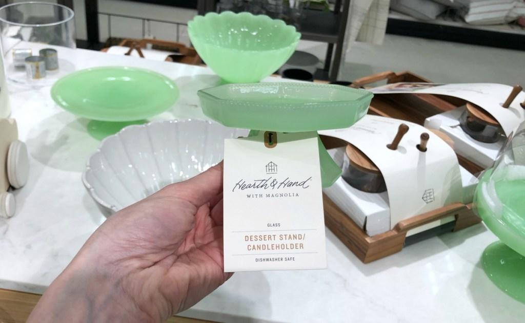 Green glass dessert stand Target