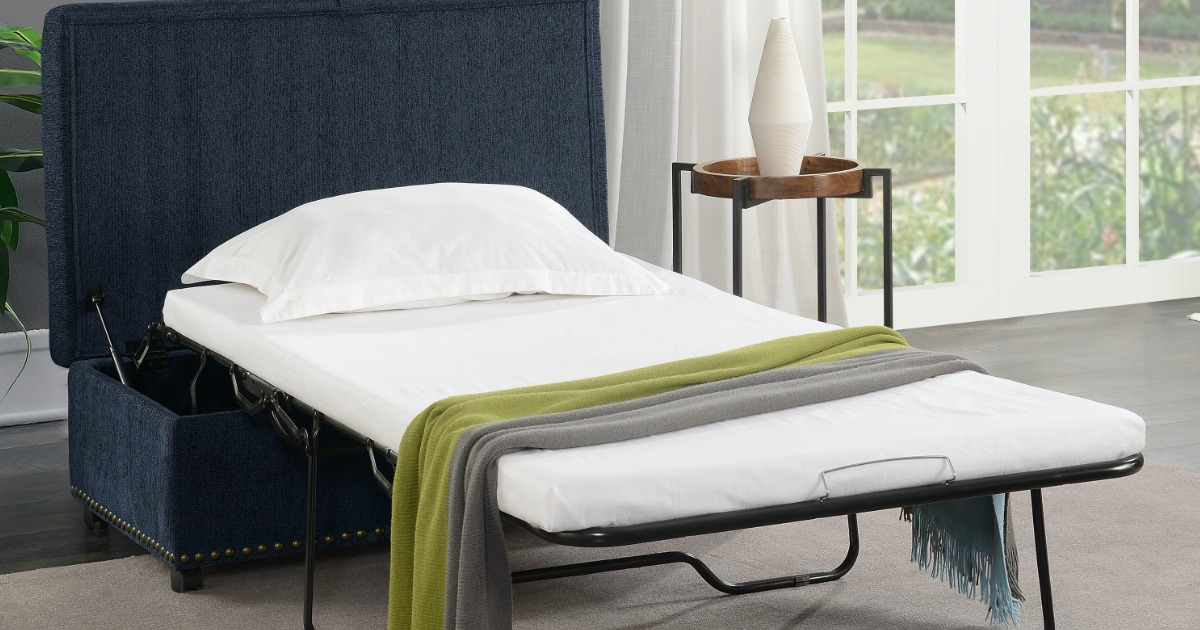 Mainstays Pull Out Sleeper Ottoman in Navy