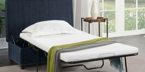 This Mainstays Pull-Out Sleeper Ottoman is Multi-Functional and Space Saving!